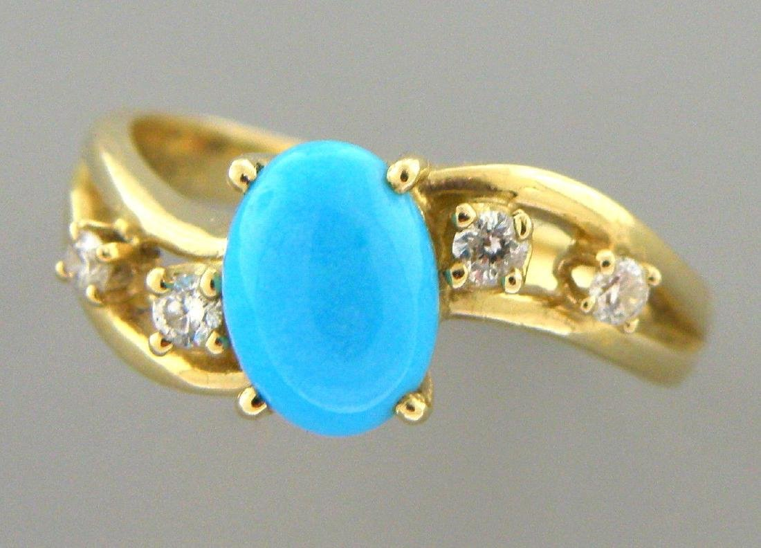 14K YELLOW GOLD DIAMOND AND TURQUOISE LADIES RING - 2