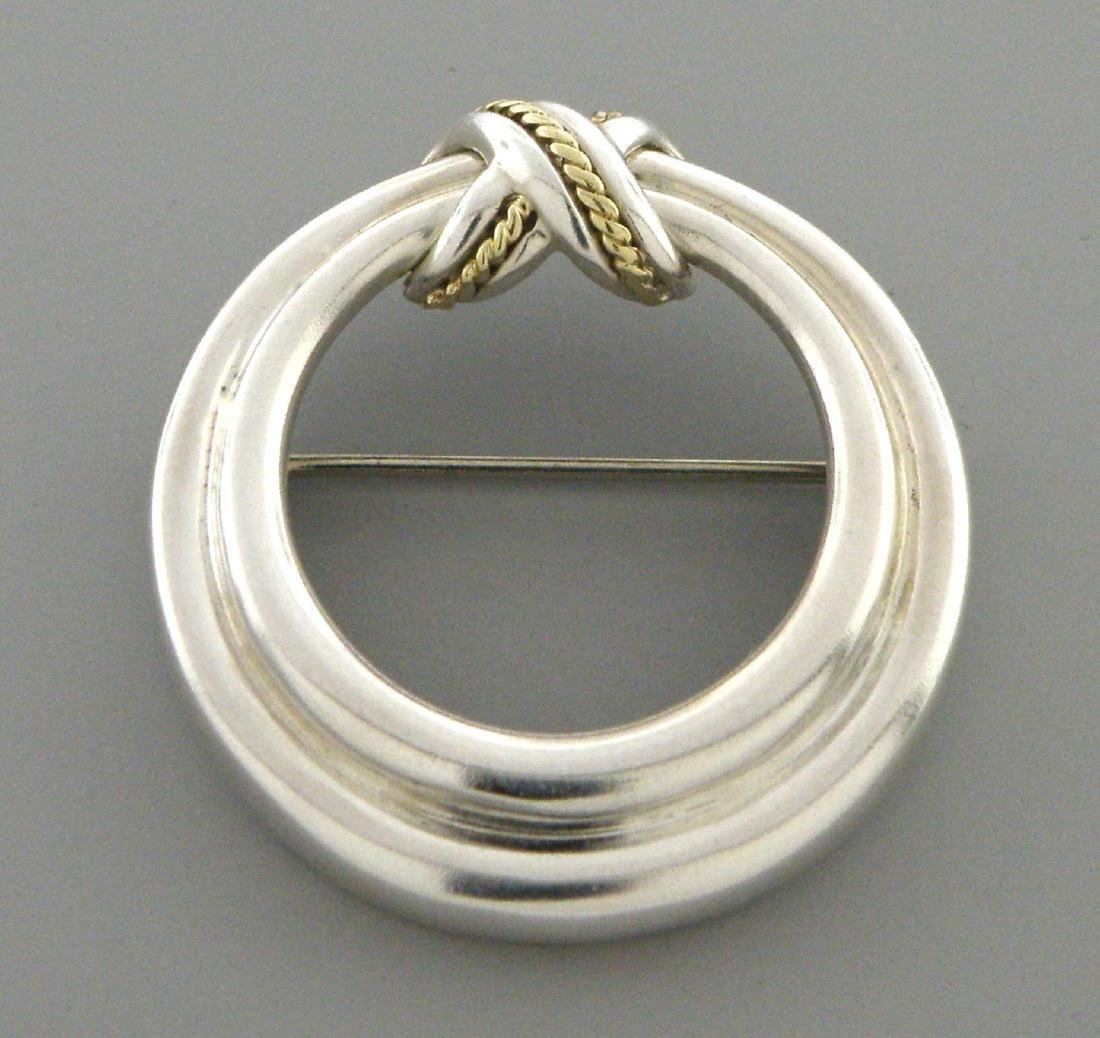 TIFFANY & Co. 18K GOLD STERLING SILVER ROPE PIN BROOCH
