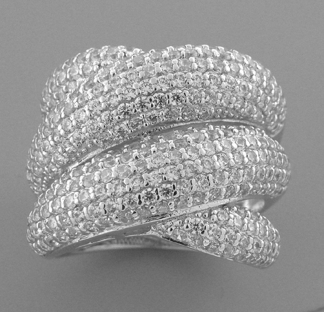 NEW STERLING SILVER CZ LARGE CROSSOVER WRAP PAVE RING 8 - 2