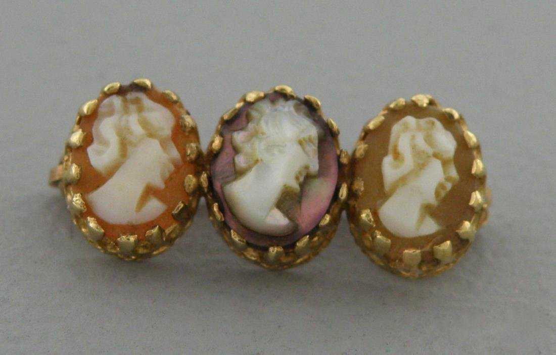 VINTAGE 14K YELLOW GOLD SMALL TRIPLE CAMEO BROOCH