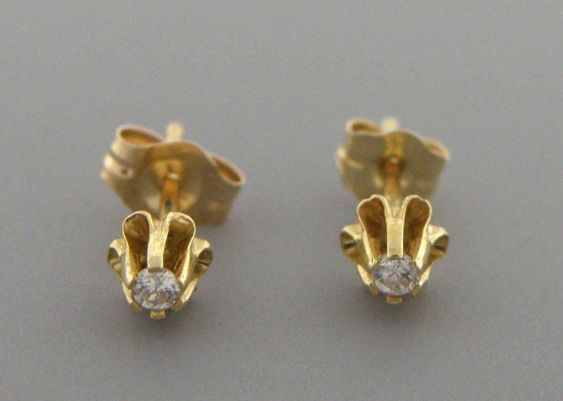 VINTAGE 14K YELLOW GOLD DIAMOND STUD EARRINGS 0.10ct