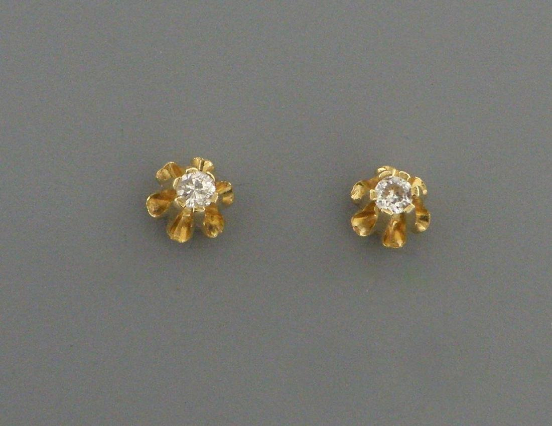 VINTAGE 14K YELLOW GOLD DIAMOND STUD EARRINGS 0.10ct - 2
