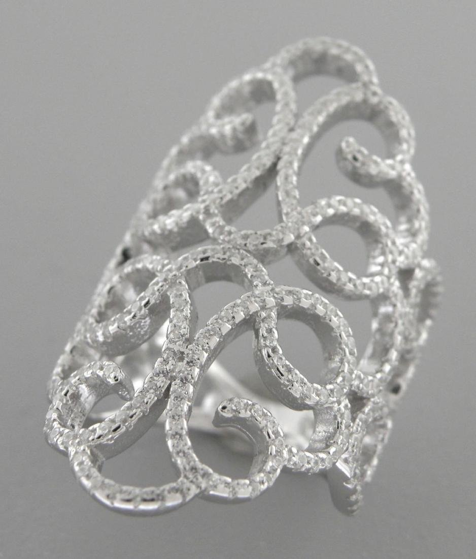 NEW STERLING SILVER CZ LARGE WIDE COCKTAIL RING SZE 6.5