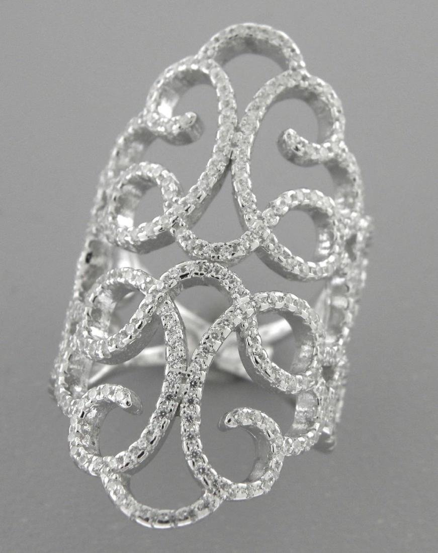 NEW STERLING SILVER CZ LARGE WIDE COCKTAIL RING SZE 6.5 - 2