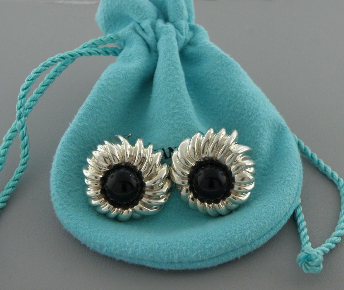 TIFFANY & Co. STERLING SILVER ONYX FLOWER CLIP EARRINGS