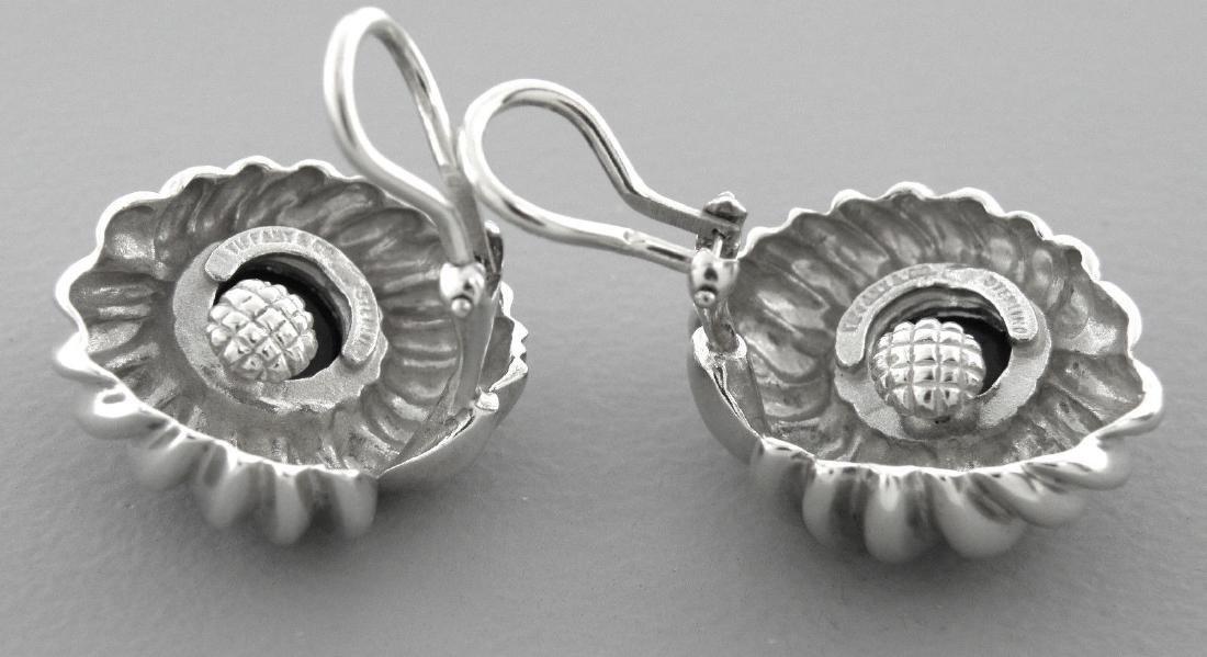 TIFFANY & Co. STERLING SILVER ONYX FLOWER CLIP EARRINGS - 2