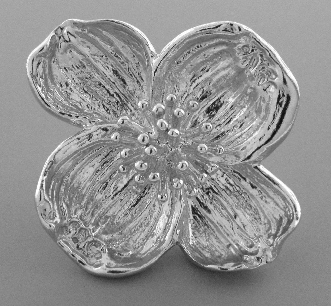 TIFFANY & Co. STERLING SILVER NATURE DOGWOOD BROOCH PIN - 2