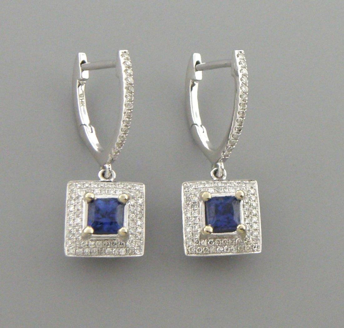 14K WHITE GOLD DIAMOND NATURAL BLUE SAPPHIRE EARRINGS