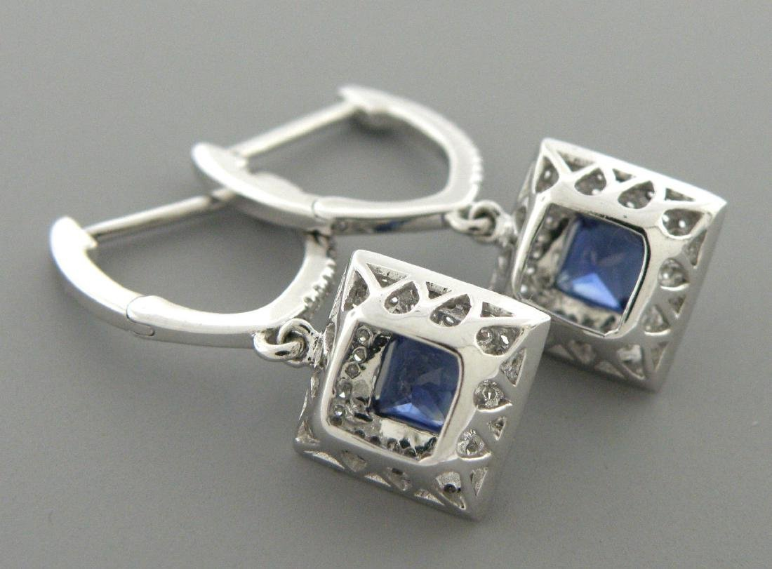 14K WHITE GOLD DIAMOND NATURAL BLUE SAPPHIRE EARRINGS - 2