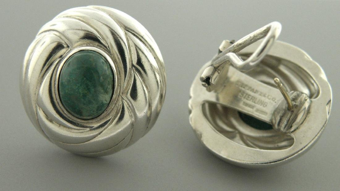 VINTAGE TIFFANY & Co. STERLING SILVER MALACHITE EARRING - 2