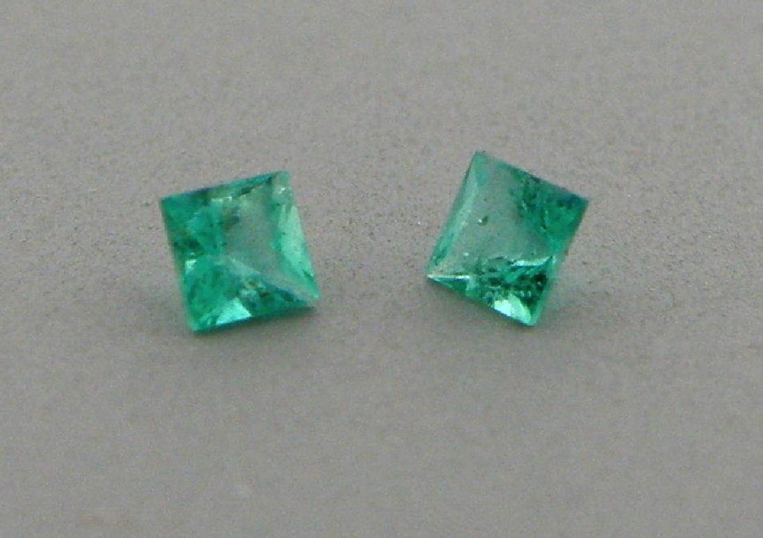 3.5mm MATCHING PAIR PRINCESS NATURAL COLOMBIAN EMERALD