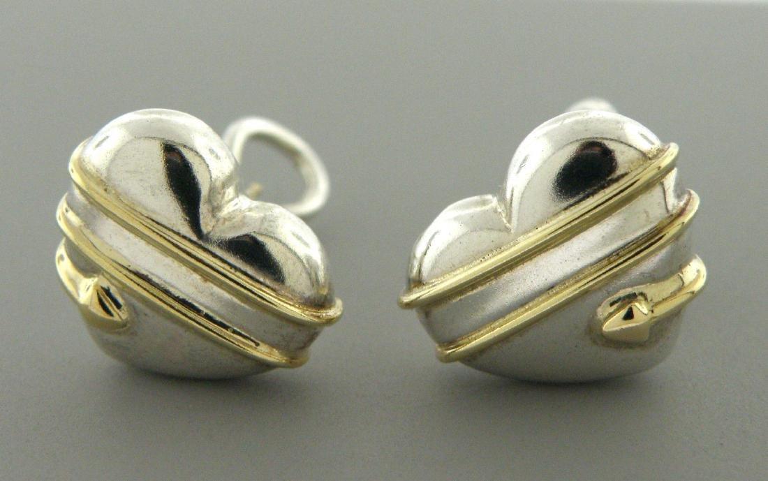TIFFANY & Co. 18K STERLING SILVER ARROW HEART EARRINGS - 2