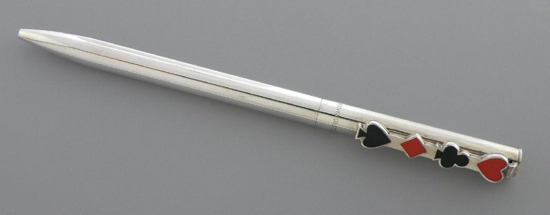 TIFFANY & Co. STERLING SILVER ENAMEL PEN DIAMOND CLUB - 2