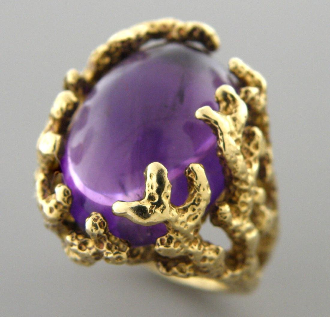VINTAGE 14K YELLOW GOLD AMETHYST TREE BRANCHES RING - 2