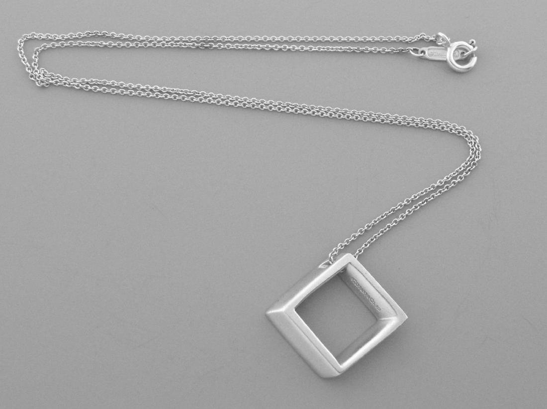 TIFFANY & Co. STERLING SQUARE MODERN PENDANT NECKLACE - 2