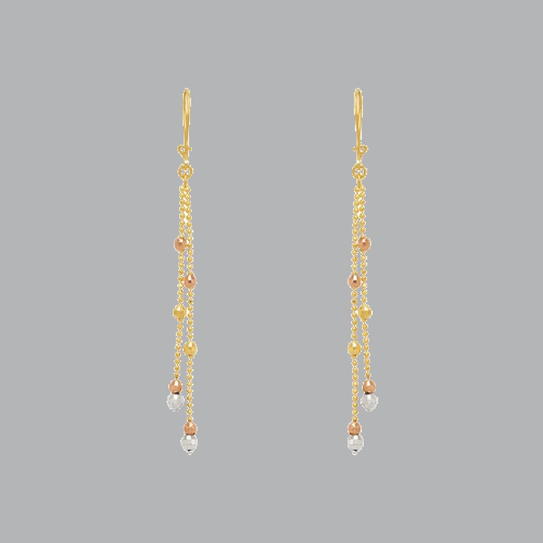 14K TRI COLOR GOLD DROP DANGLE MALAYSIAN EARRINGS