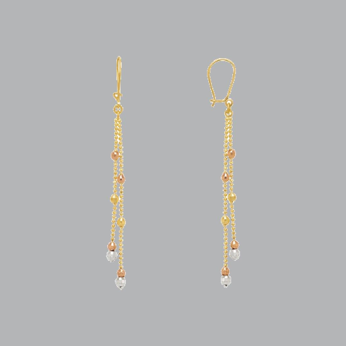 14K TRI COLOR GOLD DROP DANGLE MALAYSIAN EARRINGS - 2