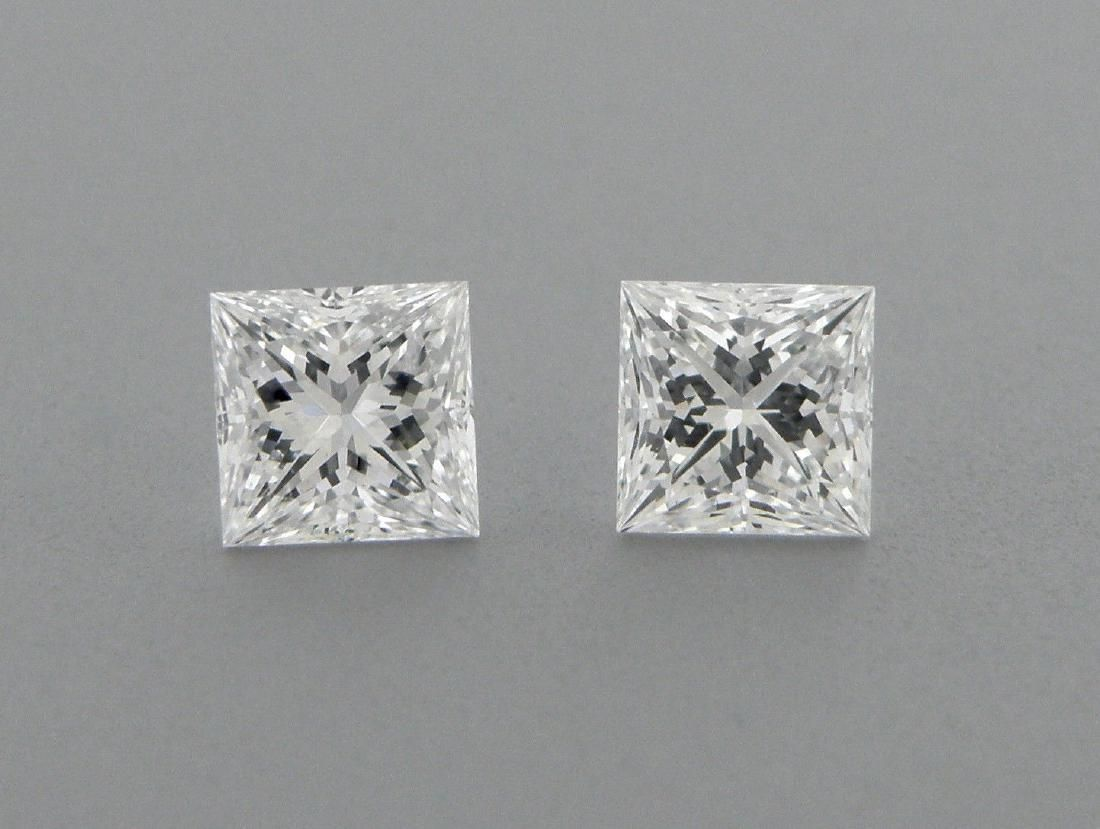 2mm MATCHING PAIR PRINCESS CUT UNTREATED DIAMOND F VVS1
