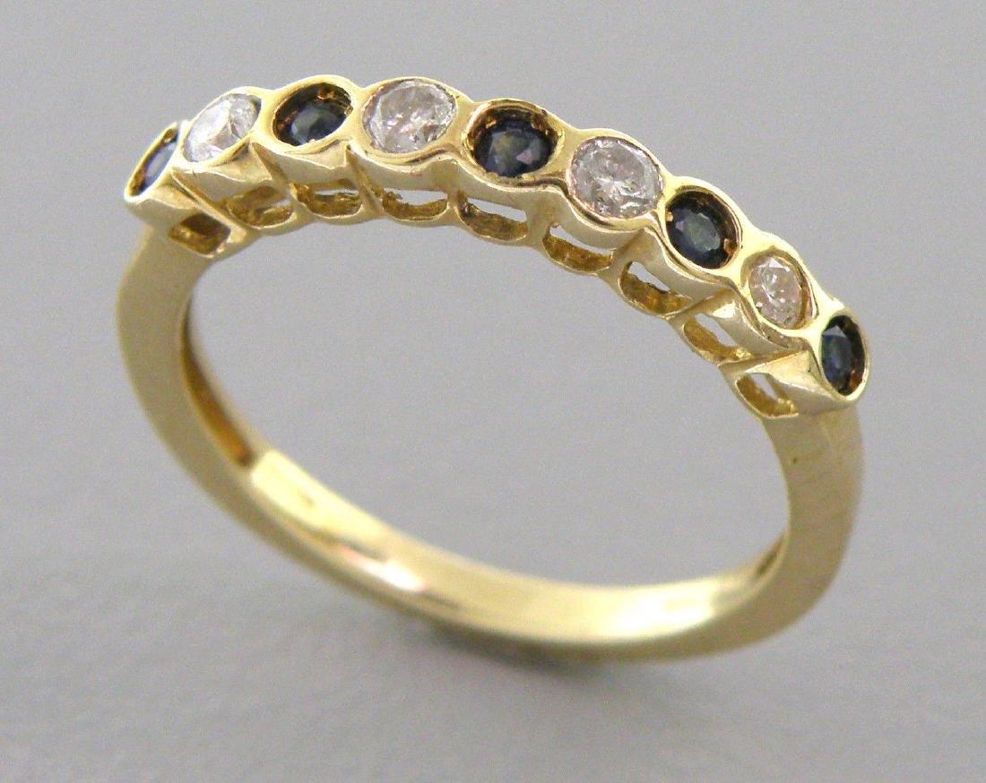 10K YELLOW GOLD DIAMOND BLUE SAPPHIRE RING WEDDING BAND