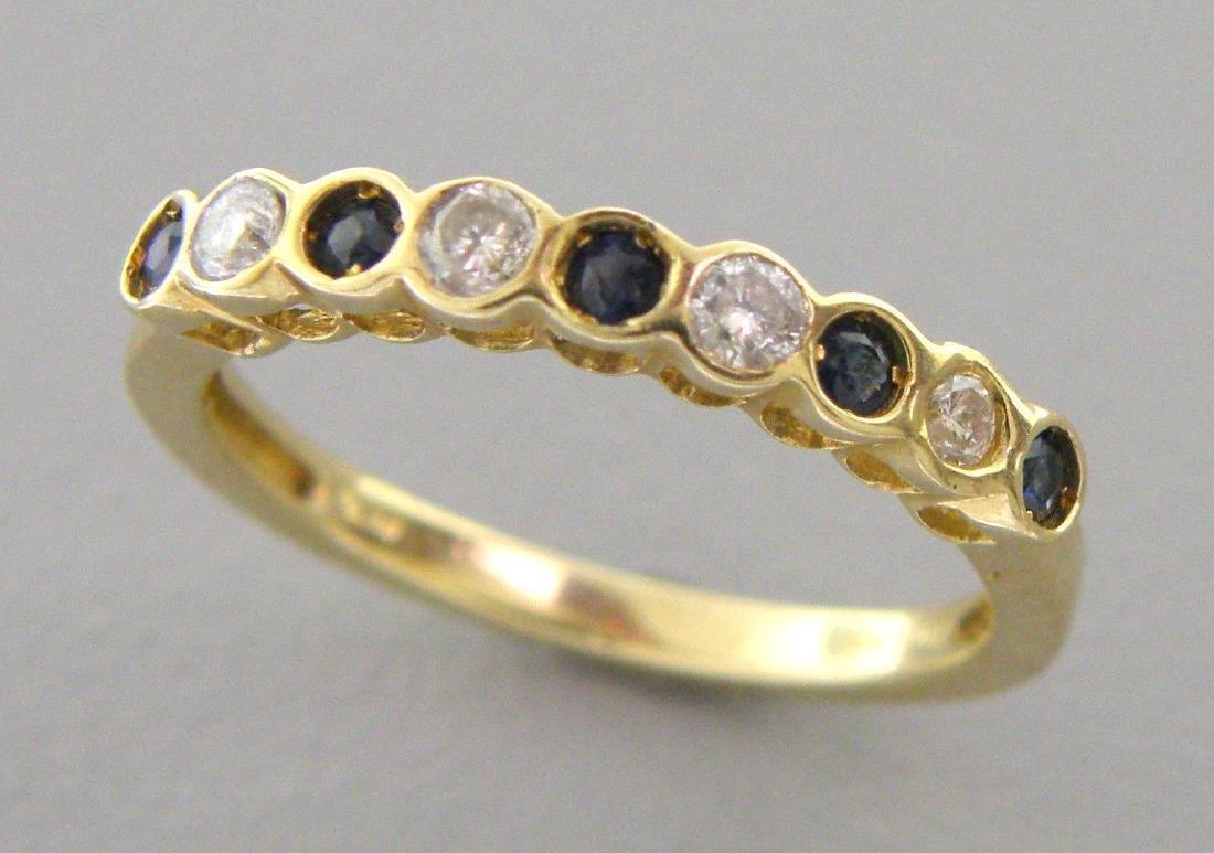 10K YELLOW GOLD DIAMOND BLUE SAPPHIRE RING WEDDING BAND - 2