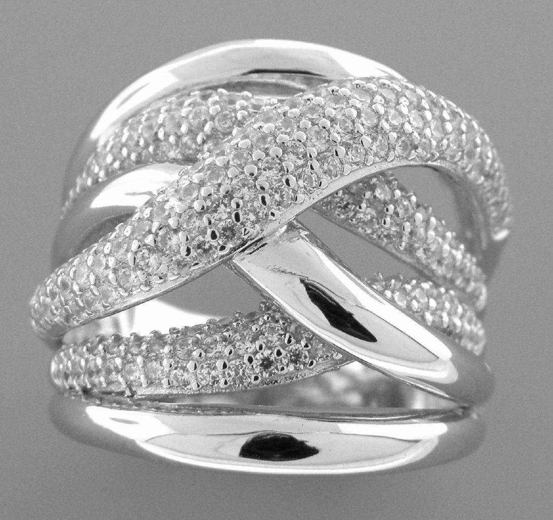 NEW STERLING SILVER CZ LARGE CROSSOVER TWIST PAVE RING