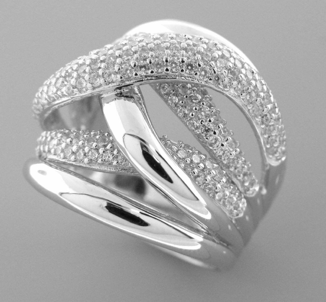NEW STERLING SILVER CZ LARGE CROSSOVER TWIST PAVE RING - 2