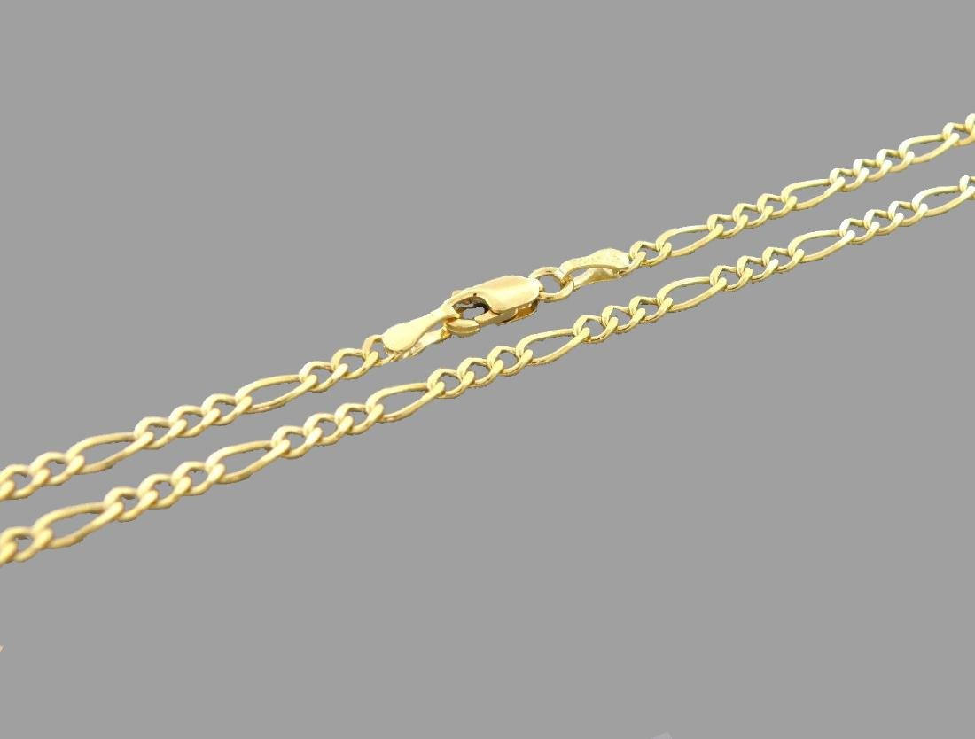 """NEW 14K YELLOW GOLD FIGARO CHAIN NECKLACE - 3MM - 18"""""""