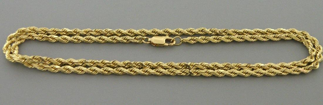 "VINTAGE 14K GOLD LADIES UNISEX ROPE CHAIN 18"" NECKLACE"