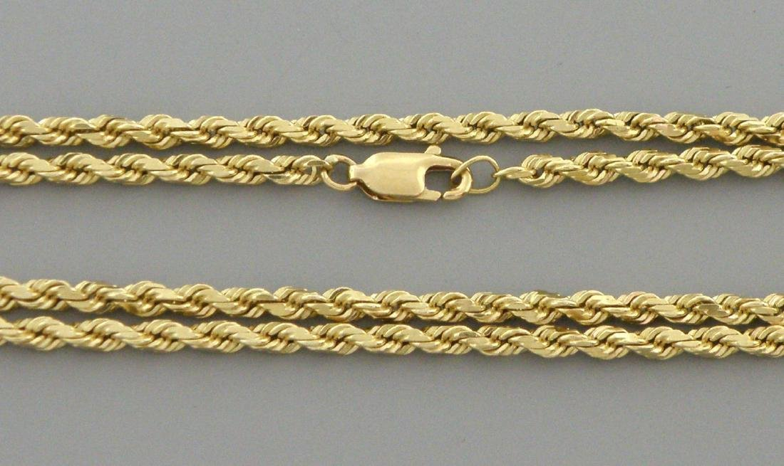 "VINTAGE 14K GOLD LADIES UNISEX ROPE CHAIN 18"" NECKLACE - 2"