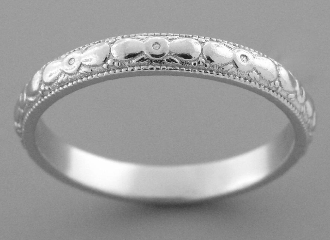 VINTAGE PLATINUM RING ETERNITY WEDDING BAND SIZE 5