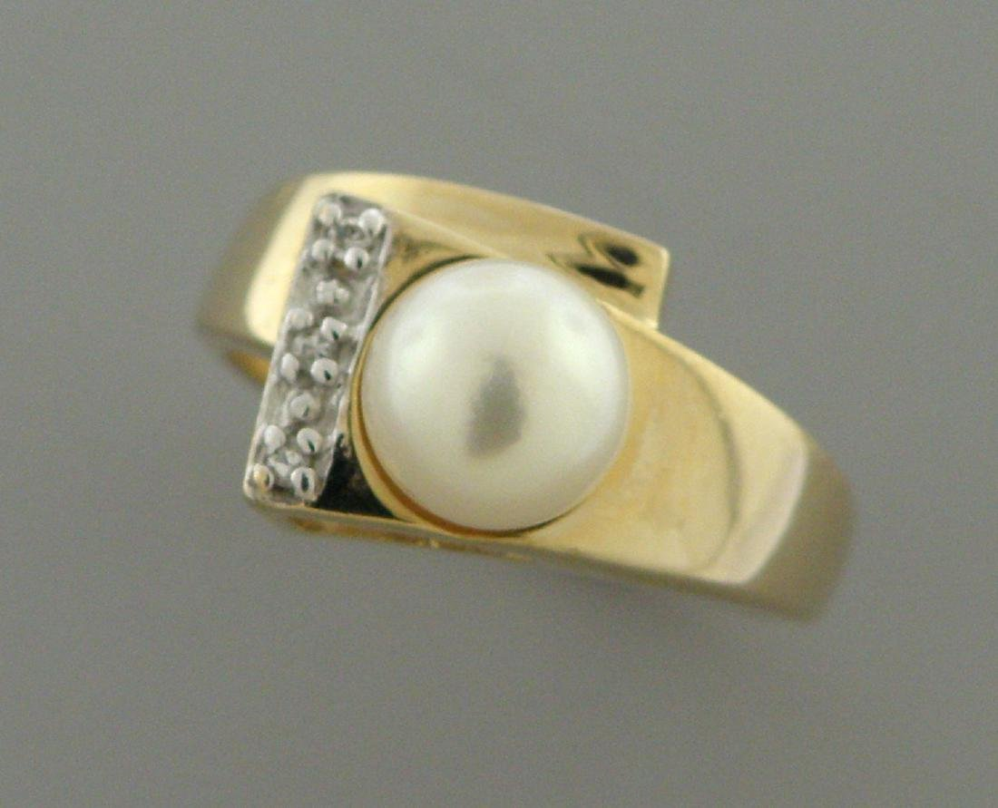 SOLID 14K YELLOW GOLD 7mm PEARL DIAMOND LADIES RING - 2