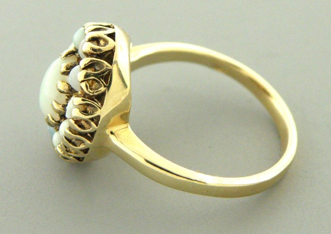 VINTAGE 14K YELLOW GOLD LADIES OPAL COCKTAIL RING - 2