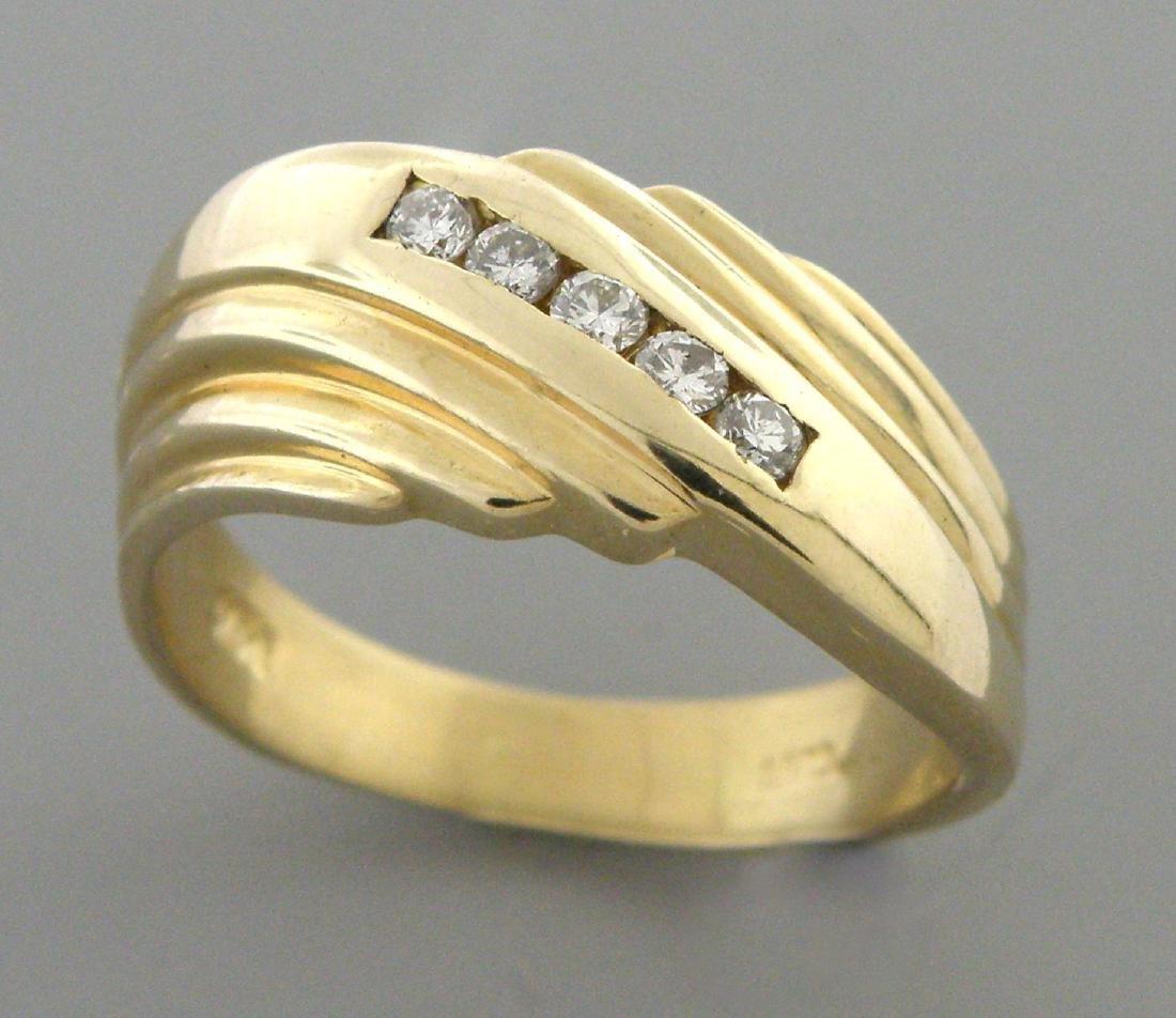 VINTAGE 14K YELLOW GOLD MENS DIAMOND RING WEDDING BAND