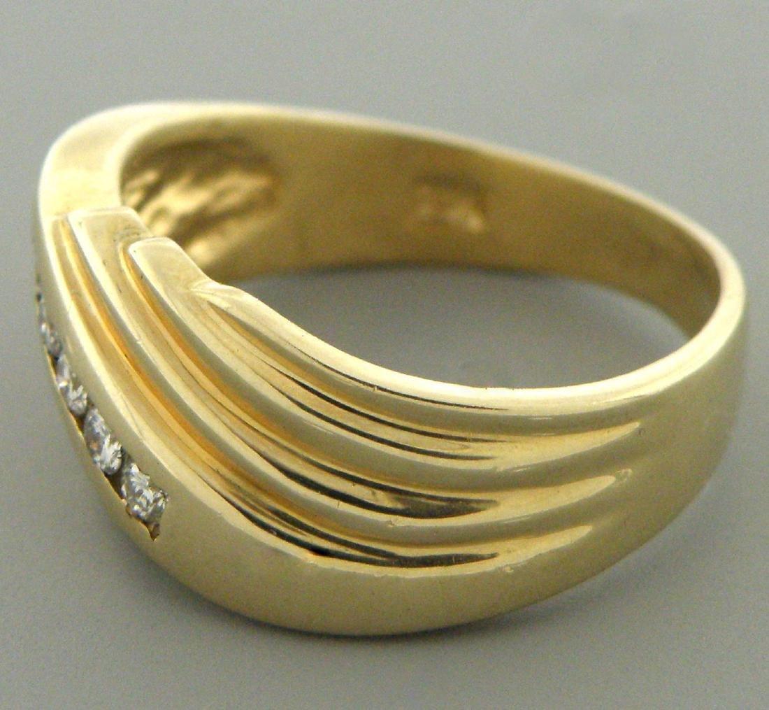 VINTAGE 14K YELLOW GOLD MENS DIAMOND RING WEDDING BAND - 2