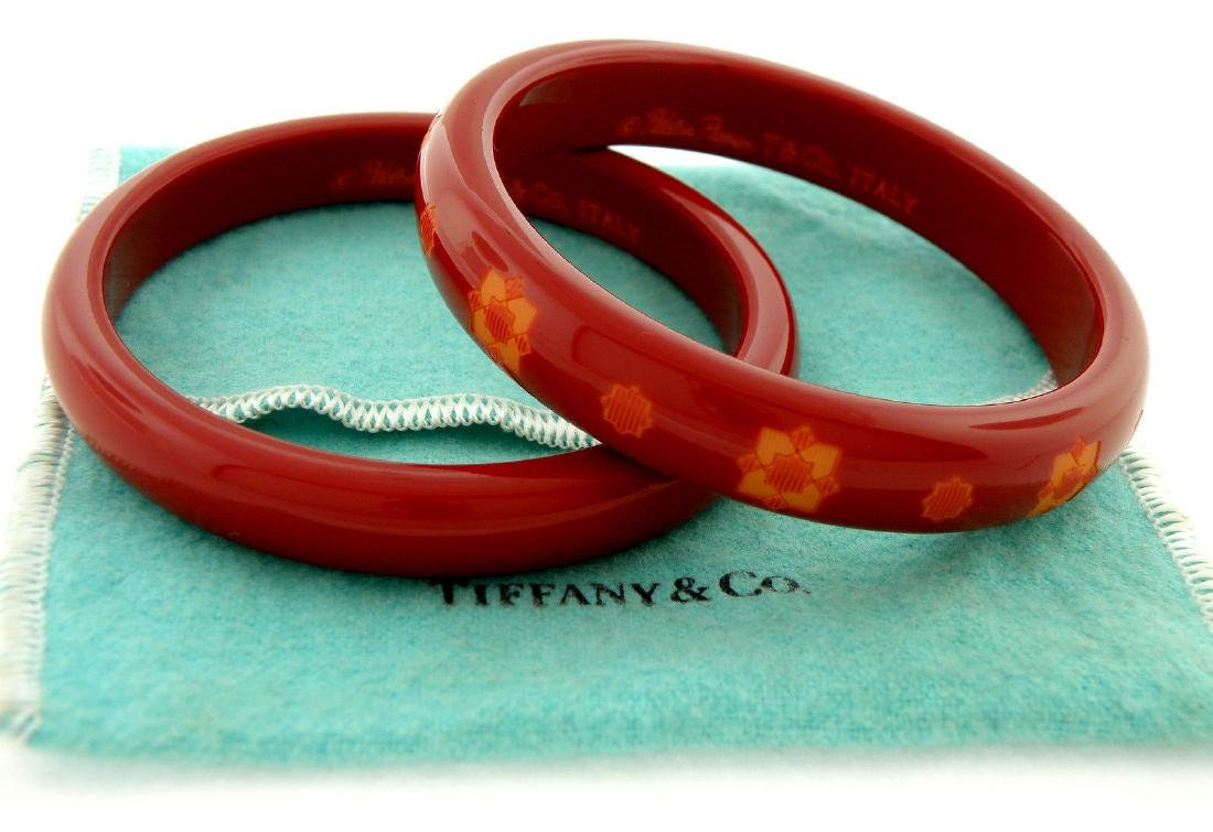 TIFFANY & Co. PICASSO ZELLIGE RESIN RED WINE BANGLES