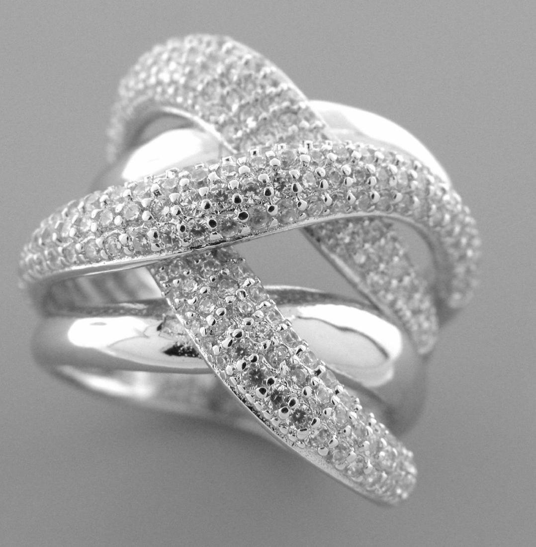 NEW STERLING SILVER CZ LARGE CROSSOVER WRAP PAVE RING
