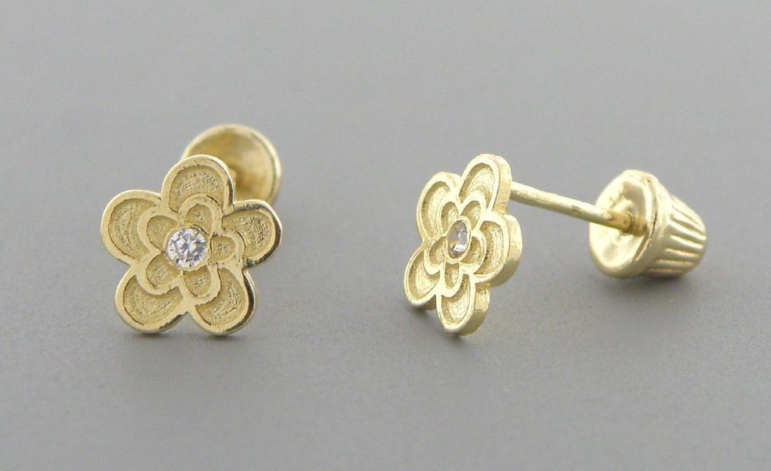NEW 14K YELLOW GOLD CZ BABY STUD FLOWER EARRINGS - 2