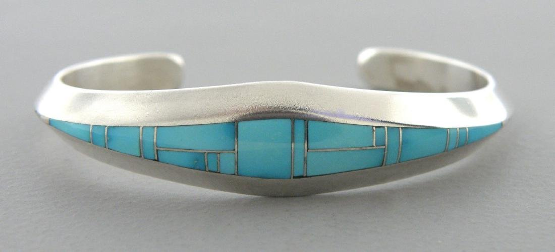 STERLING SILVER GIRLS TURQUOISE CUFF BANGLE BRACELET