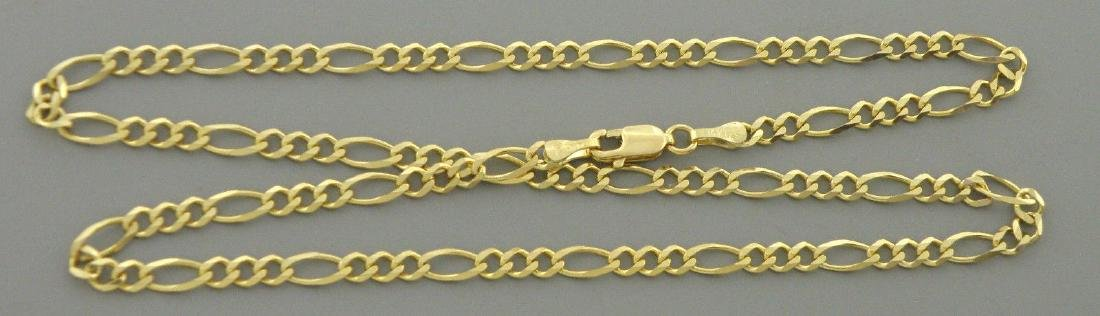 "14K YELLOW GOLD CHAIN, 18"" UNISEX FIGARO NECKLACE 3.5mm"