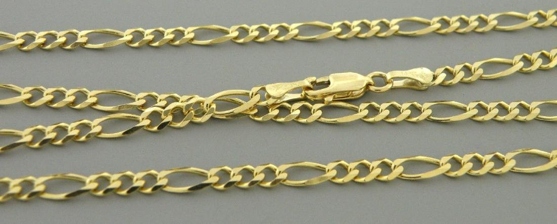 "14K YELLOW GOLD CHAIN, 18"" UNISEX FIGARO NECKLACE 3.5mm - 2"