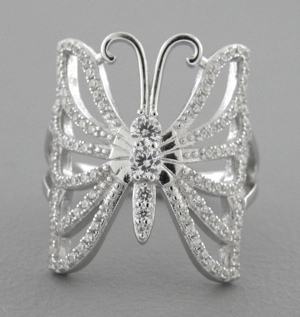 NEW STERLING SILVER BUTTERFLY CZ LADIES GIRLS RING - 2