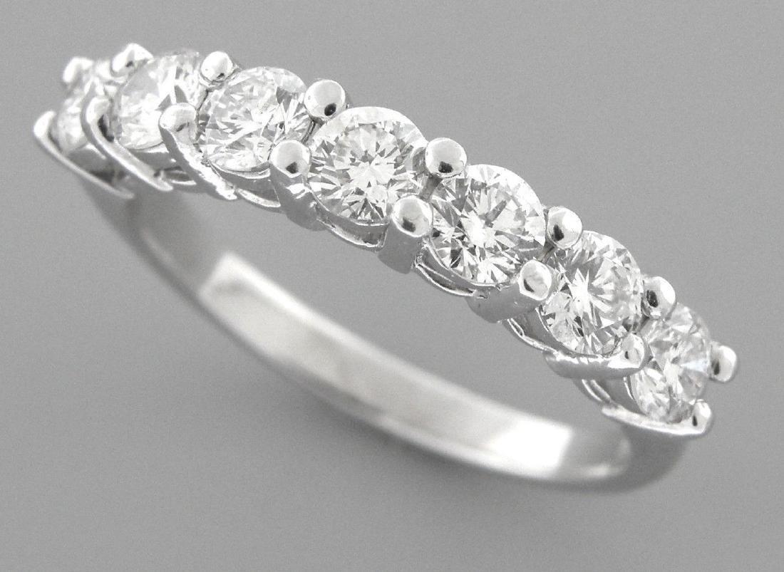 PLATINUM DIAMOND 7 STONE WEDDING BAND RING 1.75ct