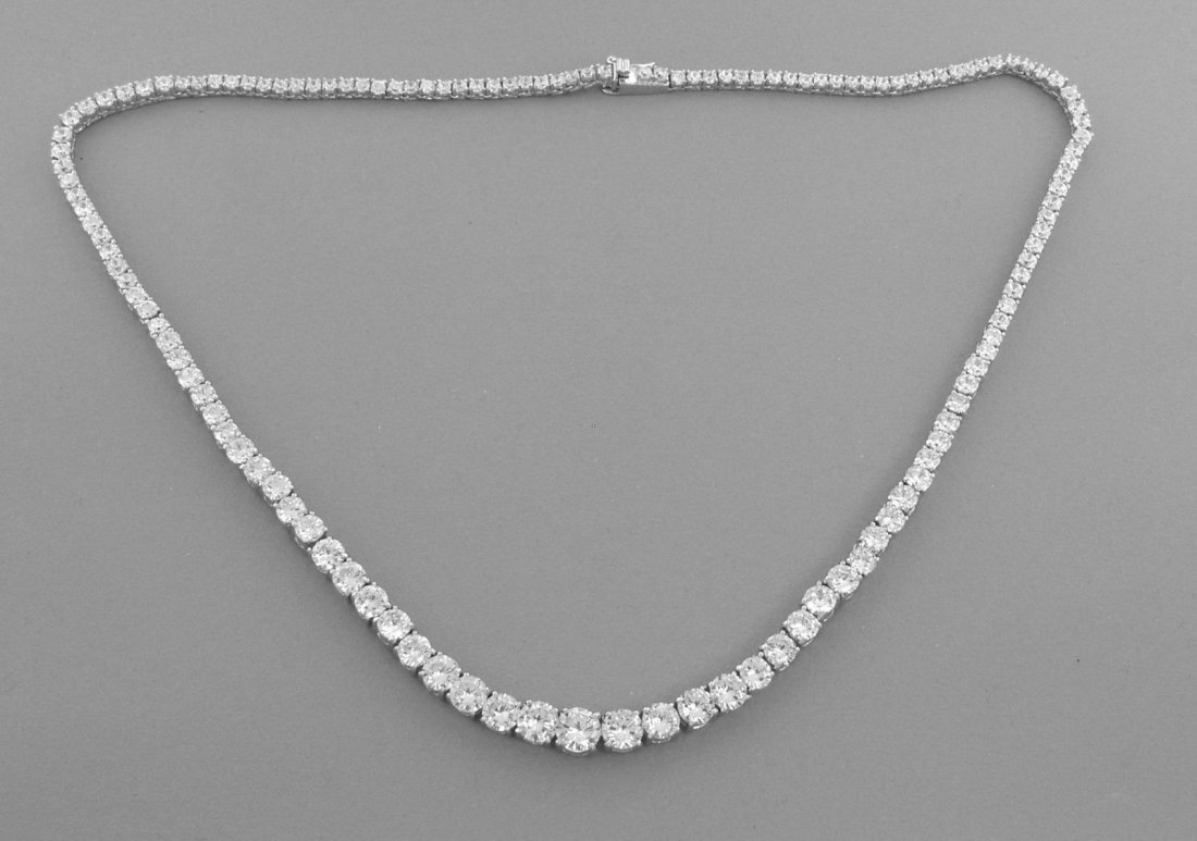 NEW STERLING SILVER CZ LADIES TENNIS GRADUATED NECKLACE