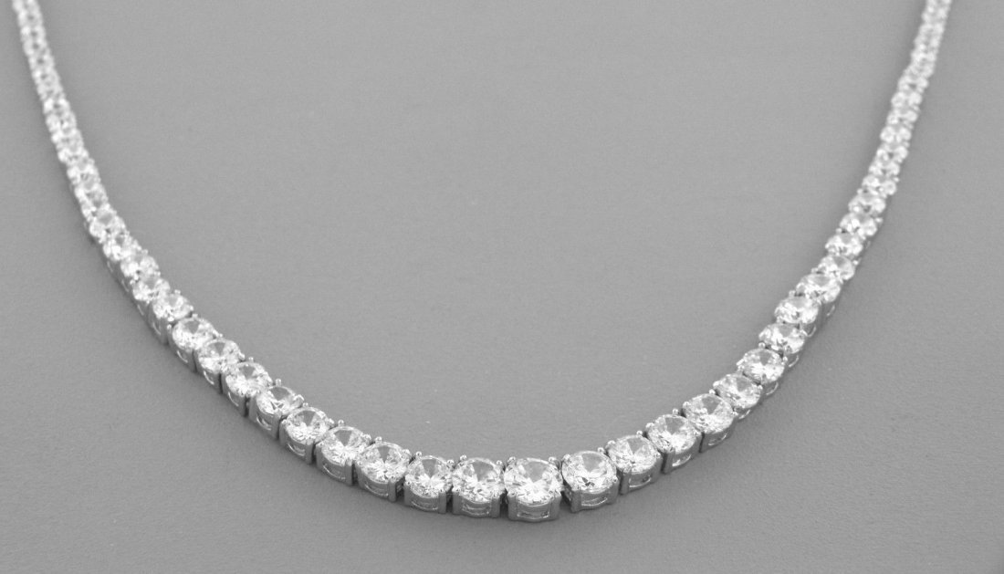 NEW STERLING SILVER CZ LADIES TENNIS GRADUATED NECKLACE - 2