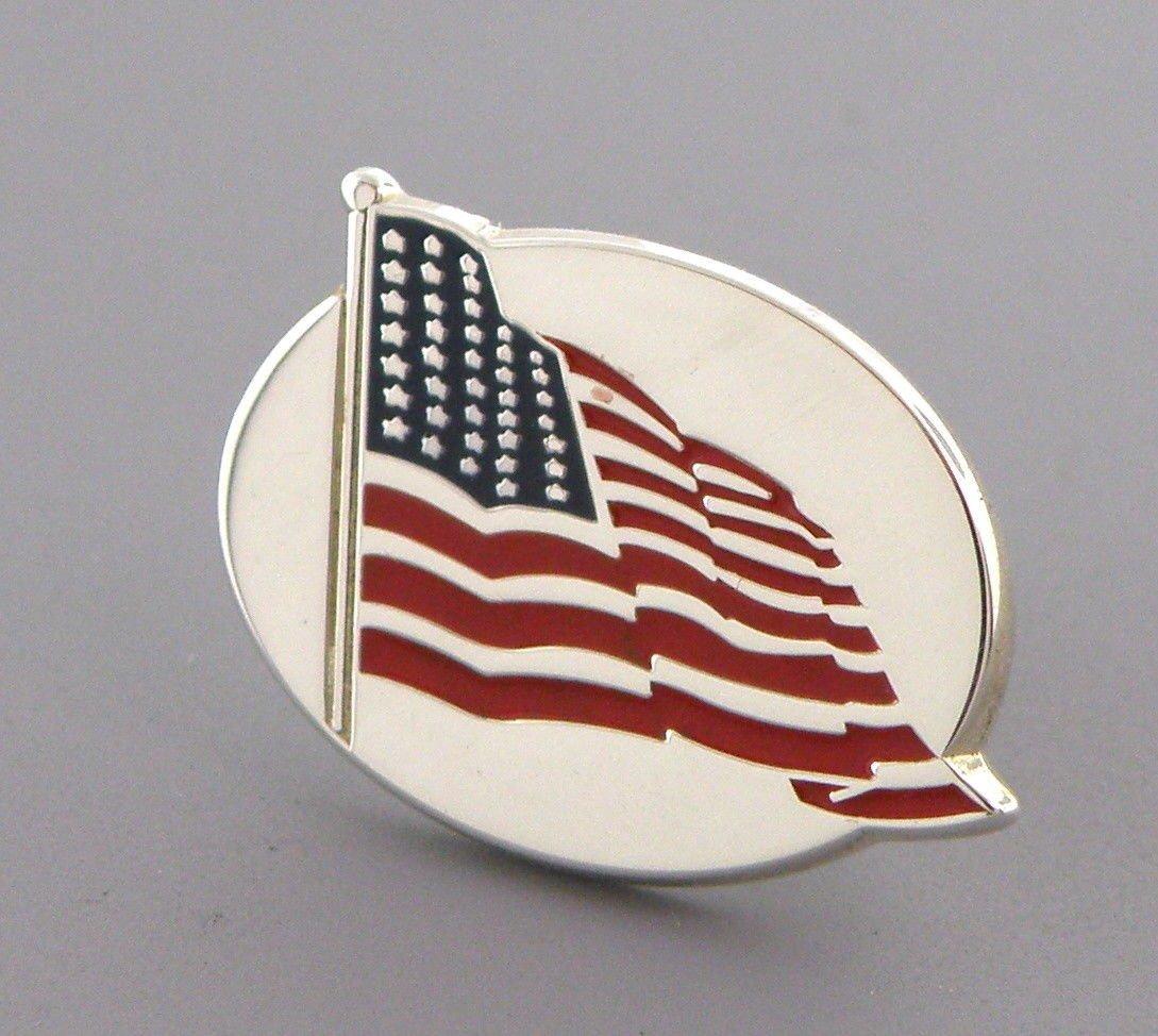 TIFFANY & Co. STERLING SILVER ENAMEL AMERICAN FLAG PIN