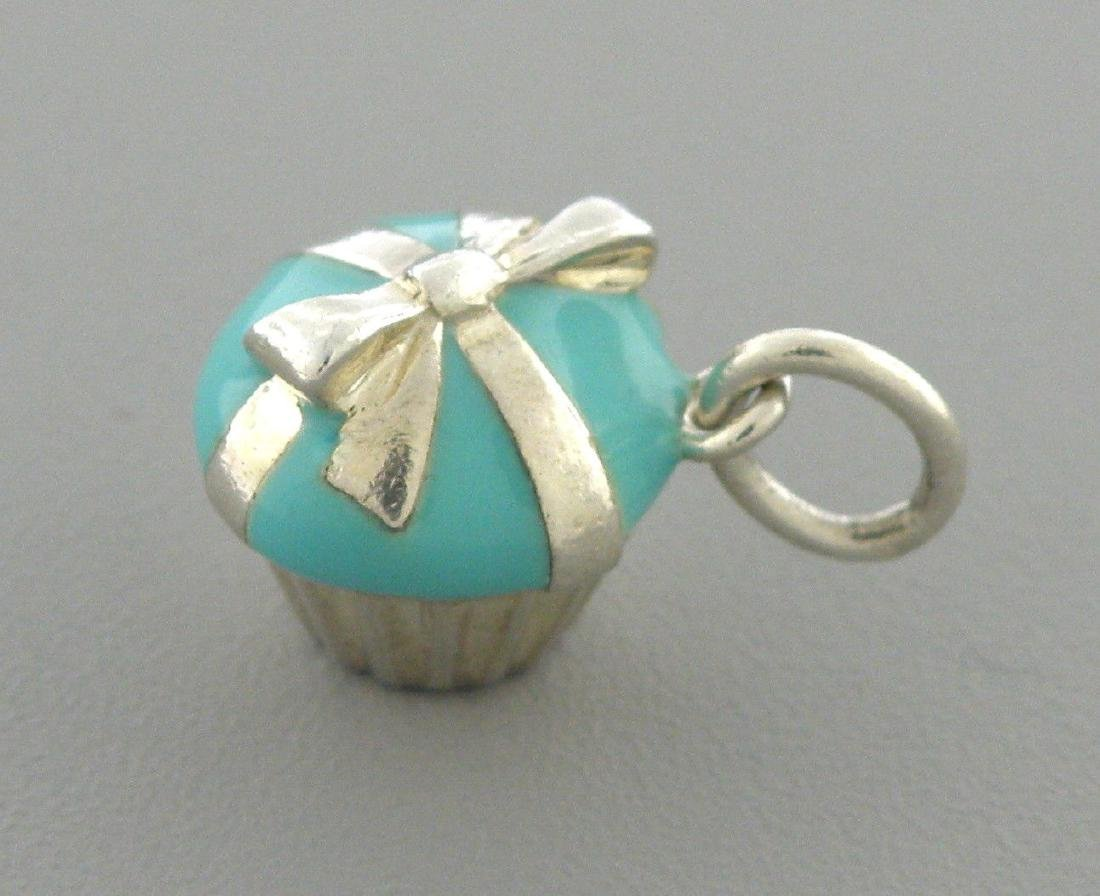 TIFFANY & Co. STERLING SILVER BLUE ENAMEL CUPCAKE CHARM