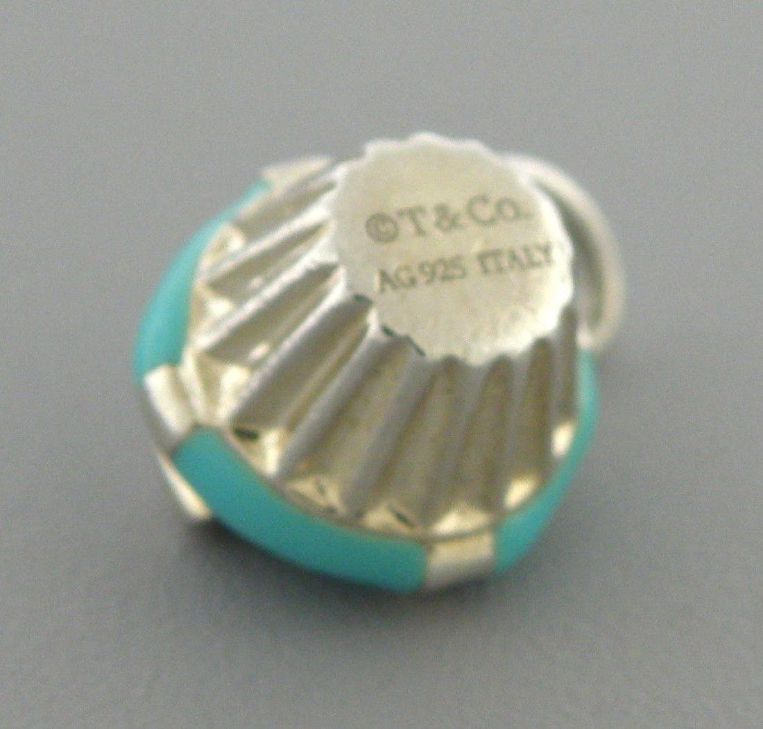 TIFFANY & Co. STERLING SILVER BLUE ENAMEL CUPCAKE CHARM - 2