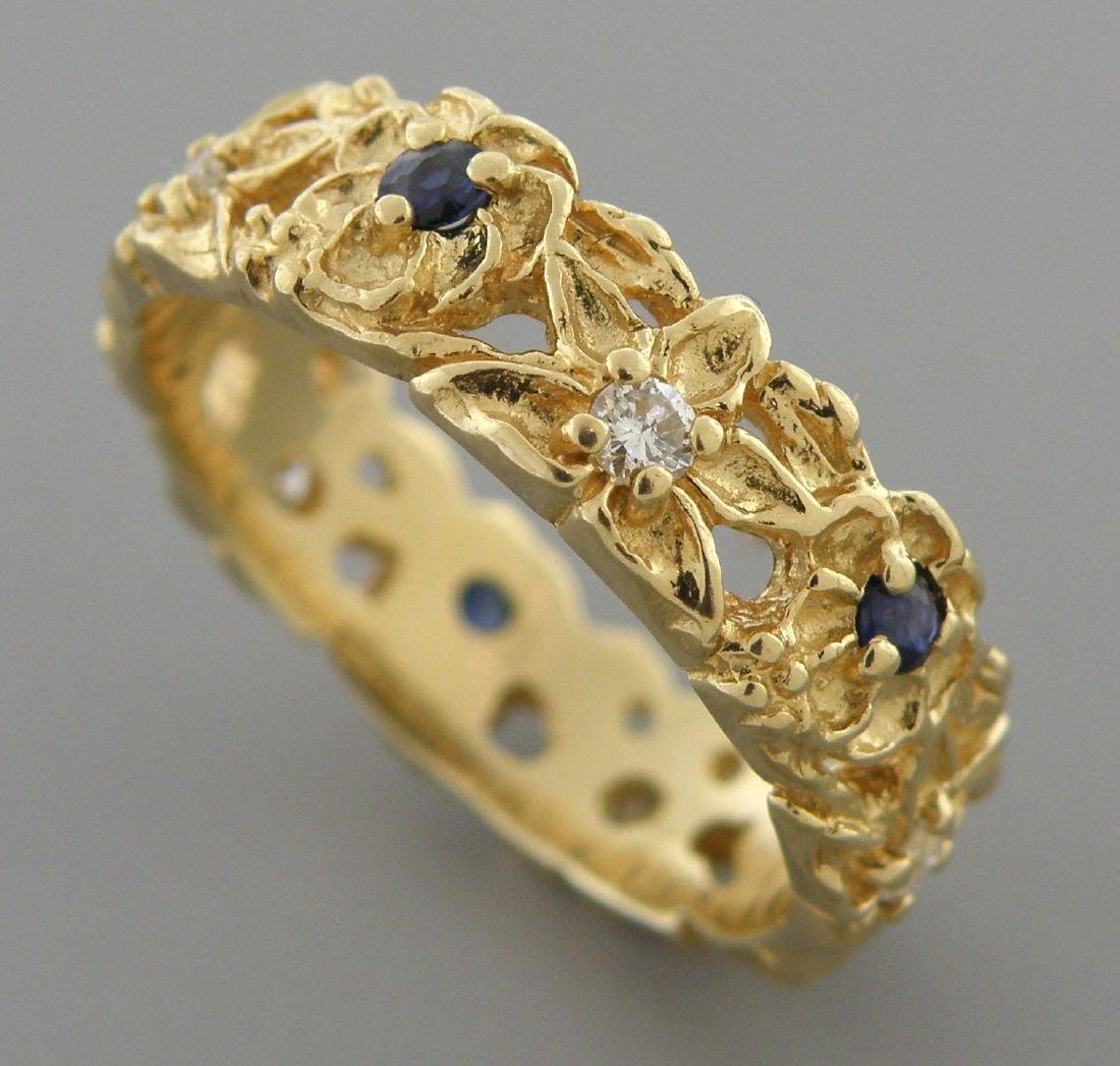 VINTAGE 14K GOLD DIAMOND SAPPHIRE RING WEDDING BAND