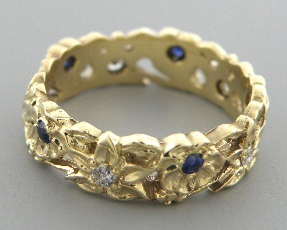 VINTAGE 14K GOLD DIAMOND SAPPHIRE RING WEDDING BAND - 2