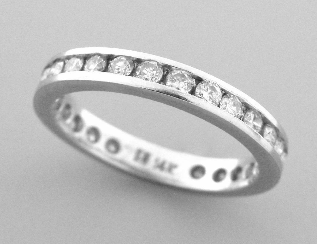 14K WHITE GOLD FULL ETERNITY DIAMOND RING WEDDING BAND - 2